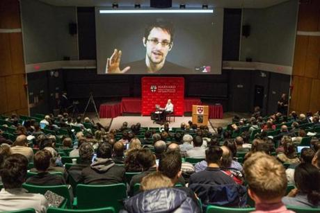 Edward Snowden participated in the Harvard event from Moscow.